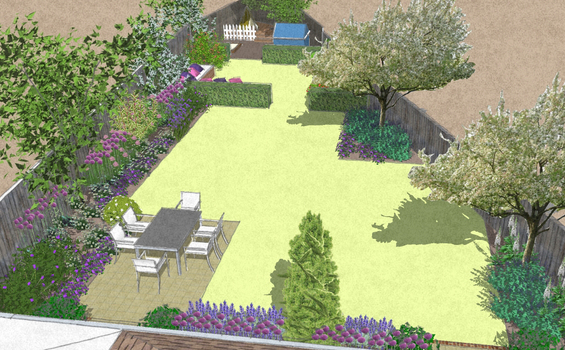 Garden design triangular plot home design for Garden designs for triangular gardens